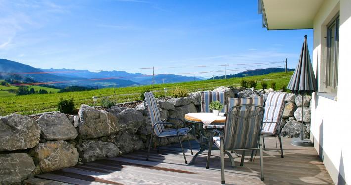 Terrasse Ferienwohnung Alpenblick